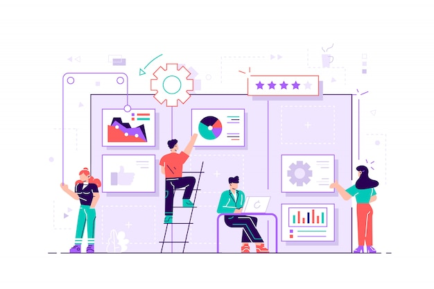 Team members moving cards on large kanban board. teamwork, communication, interaction, business process, agile project management concept, violet palette. flat  illustration on white background
