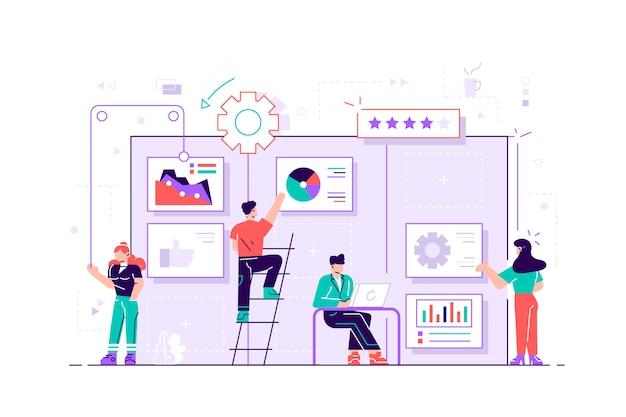 대형 칸반 보드에서 카드를 움직이는 팀원 팀워크, 커뮤니케이션, 상호 작용, 비즈니스 프로세스, 민첩한 프로젝트 관리 개념, 바이올렛 팔레트. 흰색 배경에 평면 그림