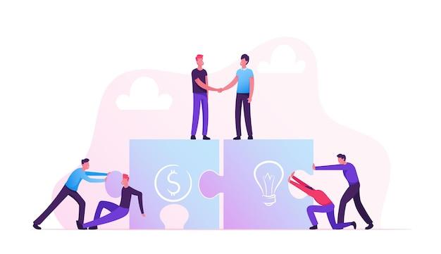 팀 은유. 퍼즐 요소를 연결하는 사업 사람들. 팀워크 협력, 파트너십. 만화 평면 그림