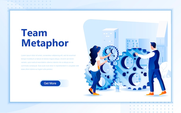 Team metaphor flat landing page template of homepage