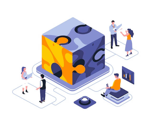 Team metaphor isometric   illustration