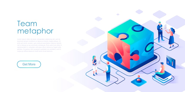 Team metaphor isometric landing page template