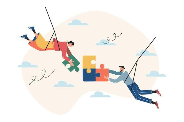 팀 은유, 퍼즐 요소를 연결하는 사람들, 팀워크의 상징, 협력