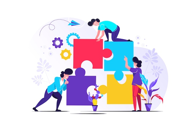 Team metaphor. people connecting puzzle elements