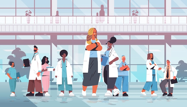 Team of mix race doctors in uniform standing together in front of hospital building medicine healthcare concept horizontal full length vector illustration