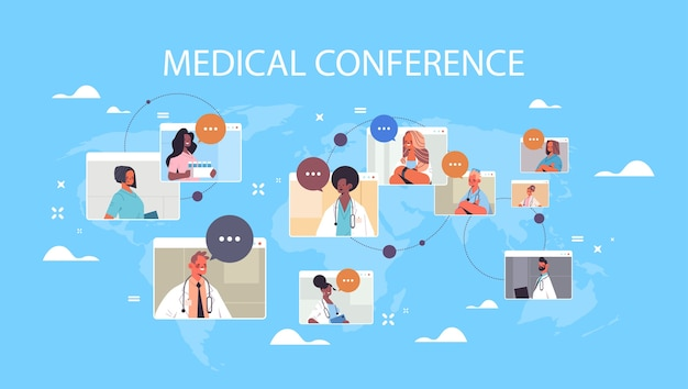 Team of mix race doctors in web browser windows discussing during video conference medicine healthcare concept world map background horizontal portrait vector illustration
