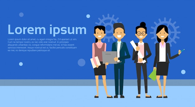 Team of modern businesspeople business man and woman cartoon standing