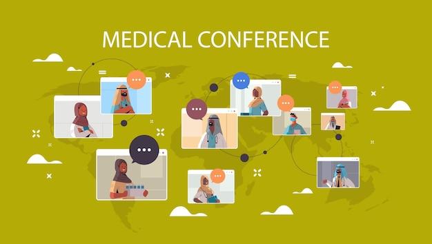 ビデオ会議中に議論しているウェブブラウザウィンドウのアラビア語医師のチーム医学ヘルスケアの概念世界地図背景水平肖像画ベクトル図