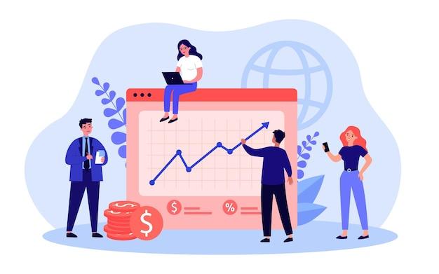 회사 예산을 계획하는 비즈니스 만화 캐릭터 팀. 사업 계획 평면 벡터 일러스트와 함께 사무실 사람들입니다. 배너, 웹 사이트 디자인 또는 방문 페이지에 대한 성공, 재정, 팀워크 개념