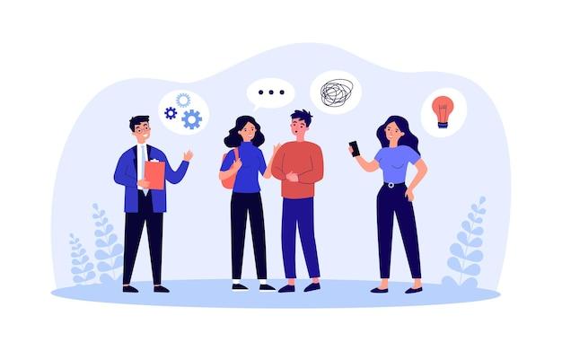 Команда деловых людей на собрании мозгового штурма. группа офисных работников обсуждают идеи, проводят мозговой штурм в чате. коммуникационная концепция совместной работы для баннера, веб-дизайна или целевой веб-страницы