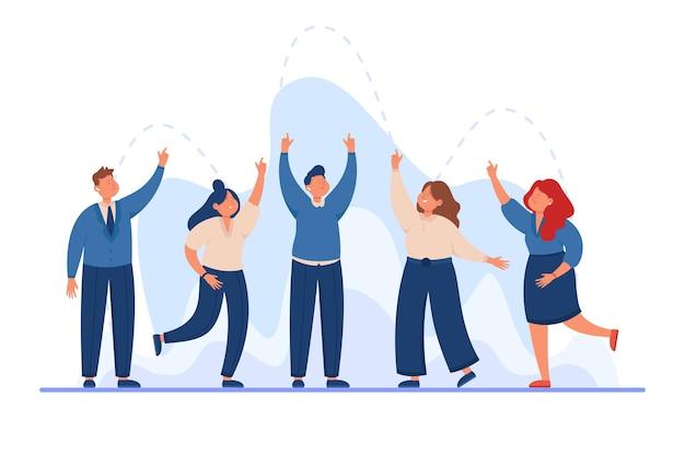 Команда деловых людей, подняв руки вверх