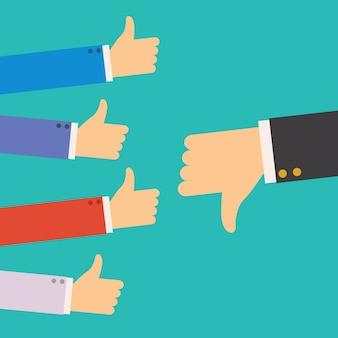 ビジネスマンのチームの親指とリーダーから1つの意見に同意しない