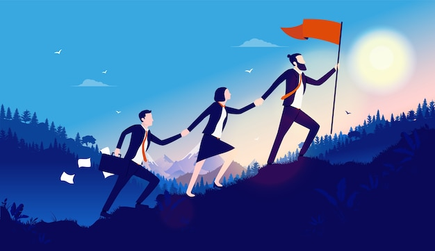 Команда деловых людей с хорошим руководством, работающих для достижения цели