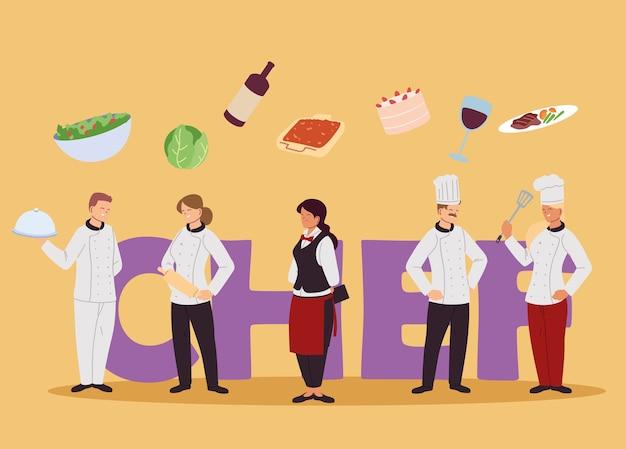 最高の食材イラストデザインのシェフとウェイターのチーム