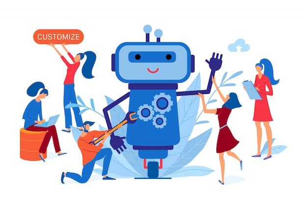 チャットボットに取り組んでいる開発者チーム、カスタマイズされたチャットボット開発バナー