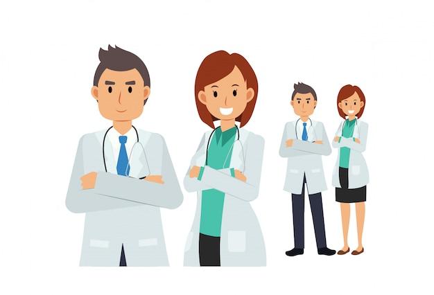 Команда доктора. мужской и женский доктор.