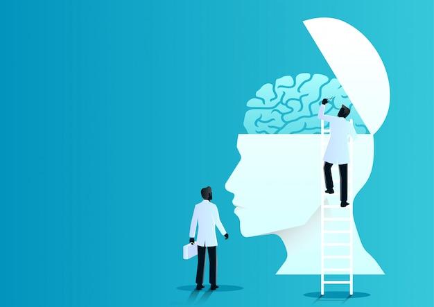 의사의 팀은 인간의 뇌를 진단