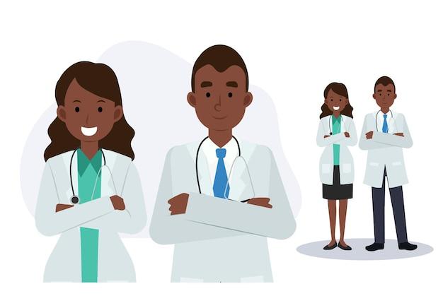 医師のチーム。男性と女性の医師。アフリカ系アメリカ人の医師。医療スタッフ、フラットベクトル漫画のキャラクターイラスト。