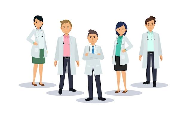 의사의 팀입니다. 남성과 여성 의사입니다. 의료진, 평면 벡터 만화 캐릭터 그림입니다.