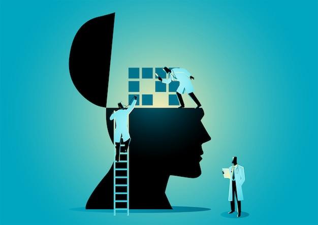 인간의 뇌를 검사하는 의사 또는 과학자 팀