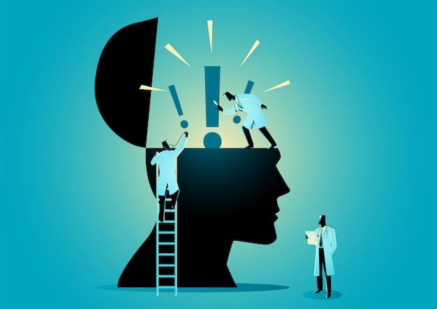 感嘆符付きの人間の頭のアイコンをチェックする医師または科学者のチーム