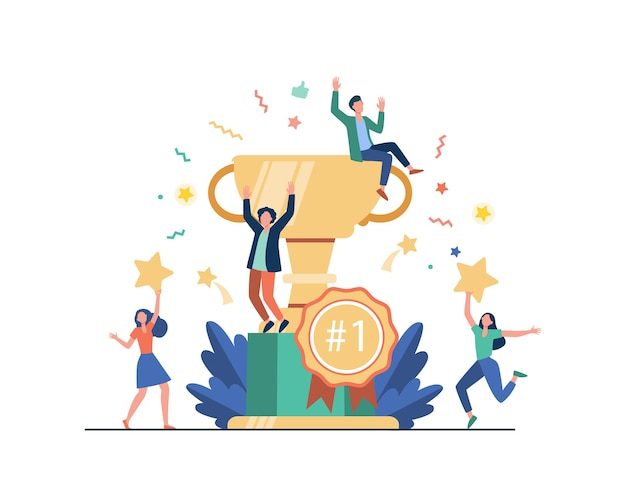 상을 수상하고 성공을 축하하는 행복한 직원의 팀. 비즈니스 사람들이 승리를 즐기고, 골드 컵 트로피를 받고 있습니다. 보상, 상금, 챔피언의 벡터 일러스트 레이션