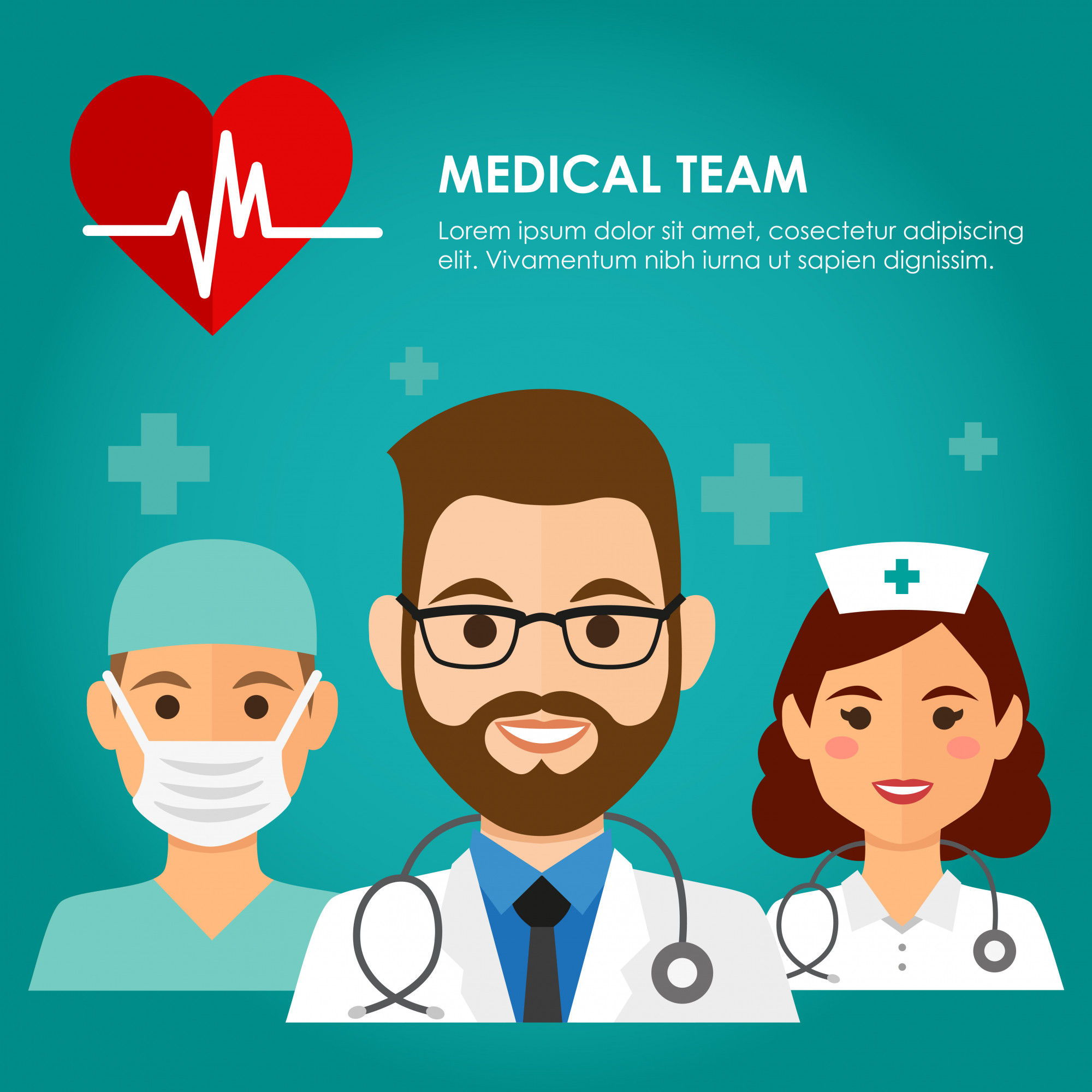 Team of health workers icons, doctor, nurse, and surgeon