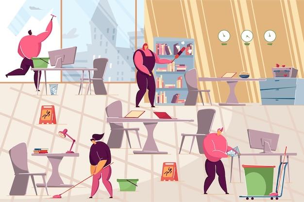 オフィスで掃除をしている用務員のチーム。フラットベクトルイラスト。混乱を片付けるプロの労働者。衛生、仕事、清掃サービス、バナーデザインまたはランディングページのオフィスコンセプト