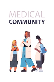 医療専門家のチームは、制服を着たレースの女性医師を混ぜ合わせます医学ヘルスケアの概念垂直全長ベクトル図