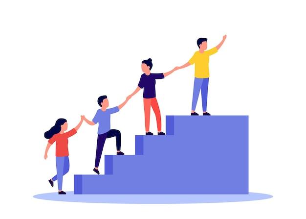 사람들의 팀은 열망과 성취로 단결되어 계단을 올라갑니다. 성공과 성장, 파트너십 개념을 위해 비즈니스 지원 및 그룹 사람들을 돕습니다. 팀워크, 협력의 상징.