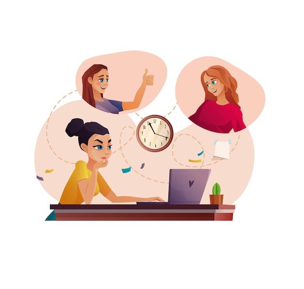 ビデオ通話会議または教育で働く人々のチームオンライン会議または教育