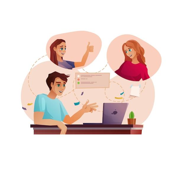 ビデオ通話会議または教育で働く人々のチーム