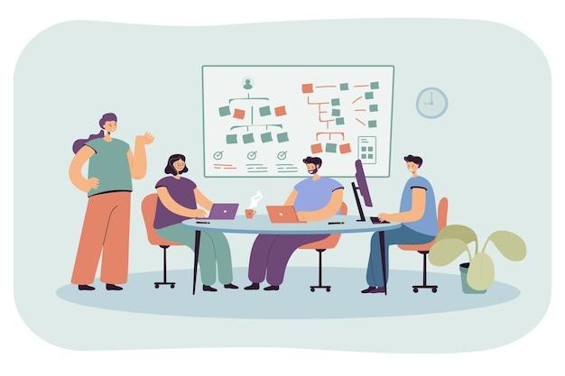 소프트웨어 작업을 하는 프로그래머 팀. 평면 그림