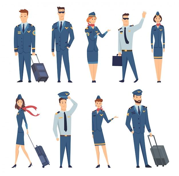 民間航空機のスチュワーデス、航空機のパイロット、搭乗員のキャプテン、飛行士の制服姿の笑顔のチーム。陽気な漫画のキャラクター。フラットスタイルのカラフルなイラスト