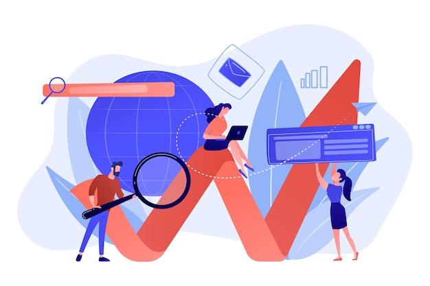 拡大鏡とラップトップと矢印を持つ専門家のチーム。デジタルマーケティング、ppcキャンペーン、白い背景の上の顧客関係の概念。