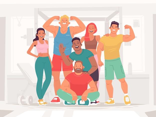 Спортивная команда счастливых мужчин и женщин в тренажерном зале. люди, ведущие здоровый и активный образ жизни. фитнес девушки, бодибилдеры, спортсменки и пауэрлифтеры. векторная иллюстрация в плоском стиле