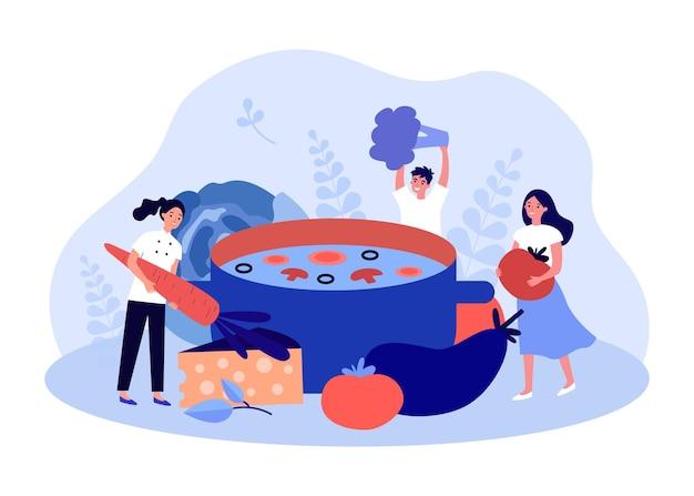 野菜スープを作る小さな人々のチーム。フラットベクトルイラストを調理するための野菜を保持している女性と男性のキャラクター。バナー、ウェブサイトのデザインまたはランディングウェブページの健康的な食事の概念
