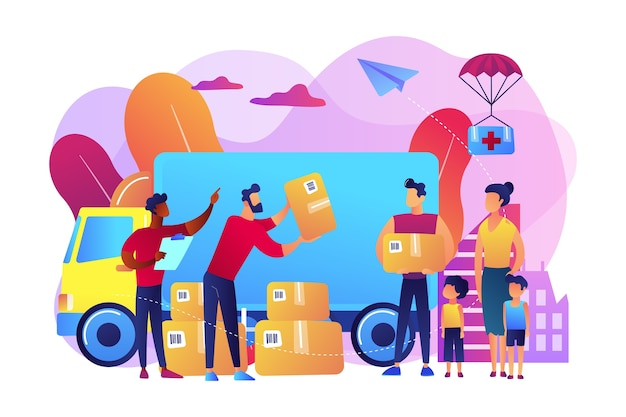 避難所と人道支援バンにヘルプボックスを提供するボランティアのチーム。人道援助、物的援助、政府援助の概念。