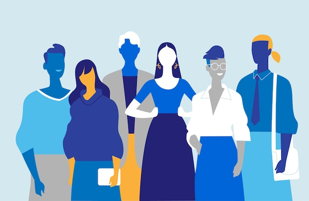 Команда молодых специалистов, состоящая из мужчин и женщин