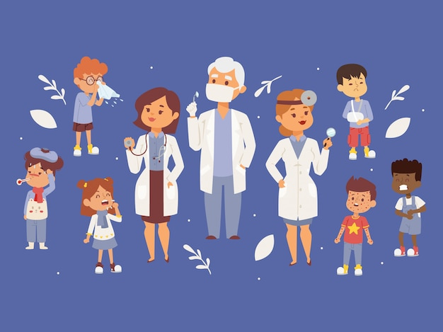 Team of pediatrician doctors with ill children