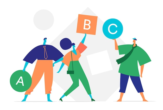 Team of people holding signs with letters of the alphabet Premium Vector