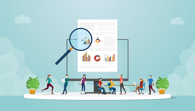 Team of people man and woman studying of learn infographic data information with modern flat style
