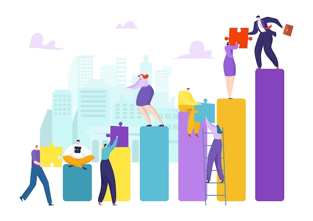 Команда людей с головоломкой сотрудничества для бизнеса концепция успеха корпоративного партнерства