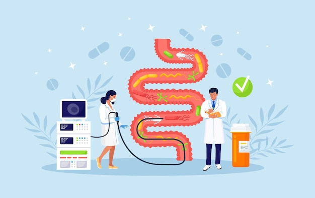 Team of physicians performs colonoscopy, diagnostics of the intestine. bowel health. tiny medical doctors examining gastrointestinal tract and digestive system. gut microorganisms and friendly flora