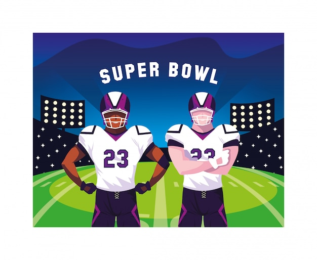 Team of players american football with