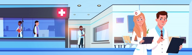 Team of professional doctors in modern hospital or clinic working horizontal banner