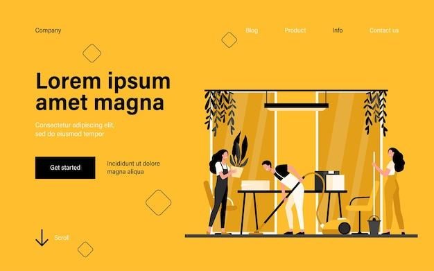 Team of professional janitors cleaning office landing page in flat style