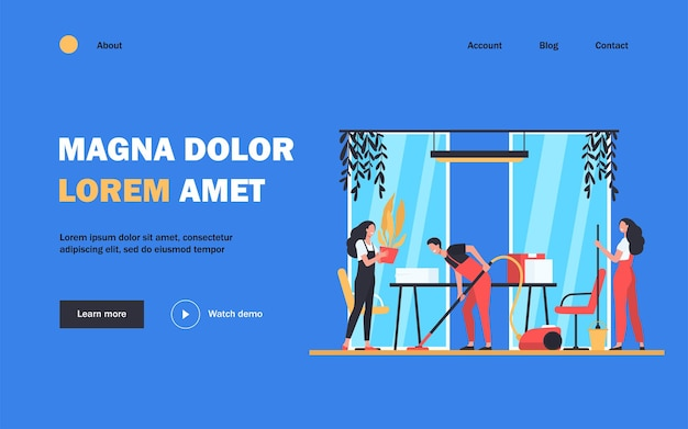 Team of professional janitors cleaning office landing page template