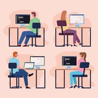 チーム プログラマーのコンピューター Premiumベクター