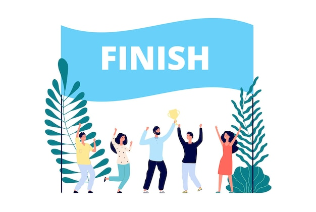 Team reached goal. successful project finish, leadership competition. business winners, man and happy people with gold cup vector illustration. team finish project, teamwork prize, strategy winner